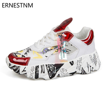 Chunky Platform Sequined Casual Bling Red Dames Sneakers Shoes