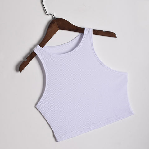 Solid Sleeveless Slash Neck Sports Tank Tops