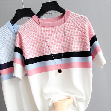 Plaid Striped Knitted Cotton T Shirt