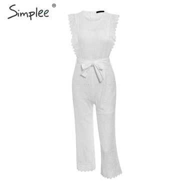 Hollow out ruffled bow tie cotton embroidery jumpsuit