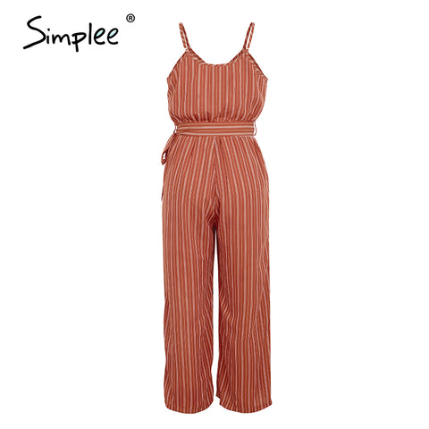 striped spaghetti Strap wide leg belted Jumpsuits