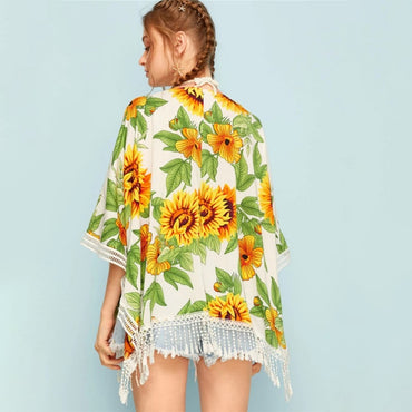 Tassel Fringes Blouse Sunflower Print Sheer Sunscreen Cardigan Kimono