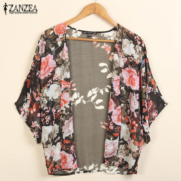 Print Cape Sleeve Shirts Sunscreen Shawl Cover Up Kimonos