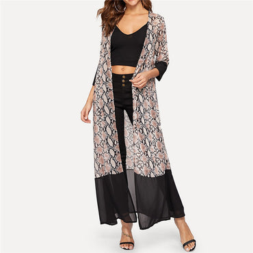 Long Loose Snake Leopard Print Long Sleeved Kimonos