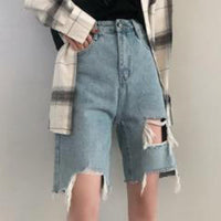 Vintage High Waist Ripped Hole Casual Loose Jeans Biker Short Denim