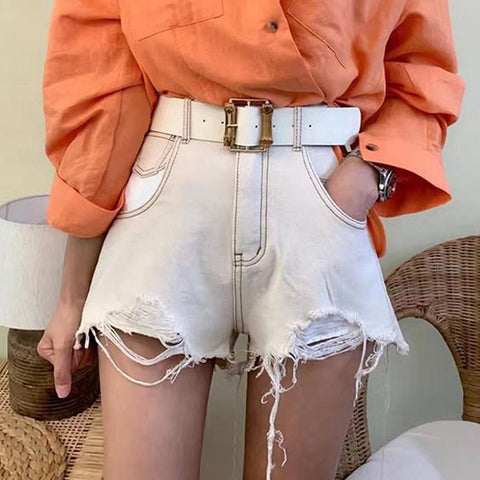 A-line Fringe Hem Casual Tassel Pockets Short Denim