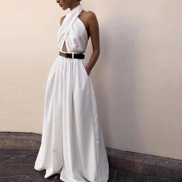 Sexy Backless Hollow Out White Solid Wide Leg Loose Ruffled Jumpsuits