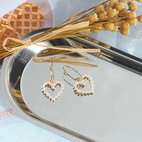 Love Heart Gold Color Drop Earrings