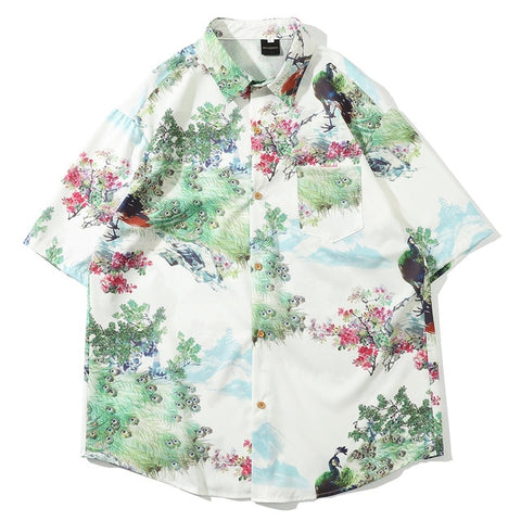 Casual Streetwear Printed Short Sleeve Shirt