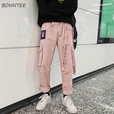 Casual All-match Loose High-Waist Pink Cargo Pants
