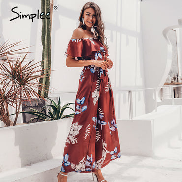 Bohemian floral print Elegant off shoulder sashes jumpsuit