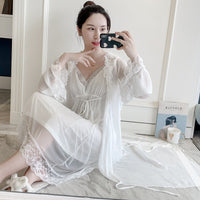 Retro Lace Robe Set V-Neck Nightdress Cardigan Twinset Sleepwear