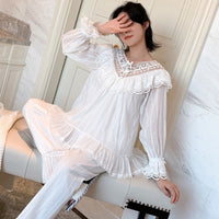 Embroidery Lace Princess Retro Woven Cotton Pajamas Suit Sleepwear