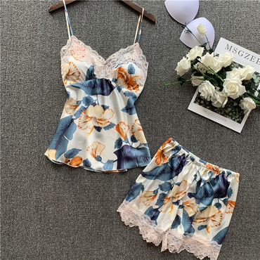 Sexy Imitate Real Silk Printing Camisole Shorts Suit Sleepwear