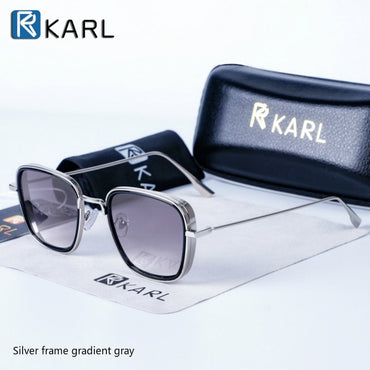 Square Luxury Brand Metal Retro Steampunk Gradient Sunglasses