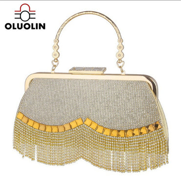 Leisure Wallet Club Night Wave Tassel Diamond Handbag