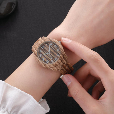 Round Dial Simple Lady Imitation Wood Watches