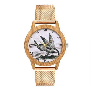 Retro Grain flying fish Pattern Temperament Simple Silicone Strap Wood Watches