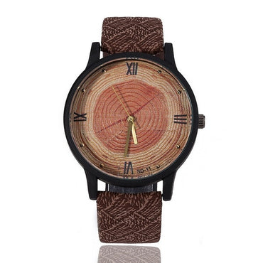 Retro Leather as the wife of vintage clock simple face of black wood Wood Watches