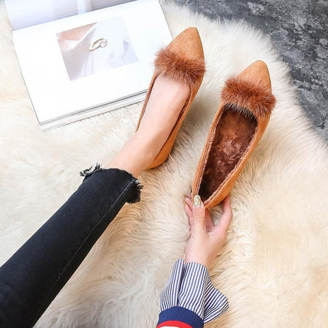 Casual Street Light Mouth Commuter Suede Flat shoes