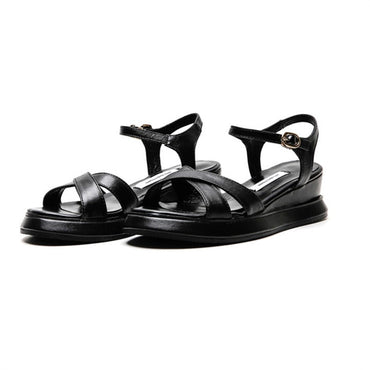 cow leather buckle sandals