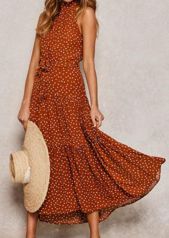 Polka Dot Long A-Line Tunic Sexy Off Shoulder Elegant Sash Print Boho Bohemian Dress