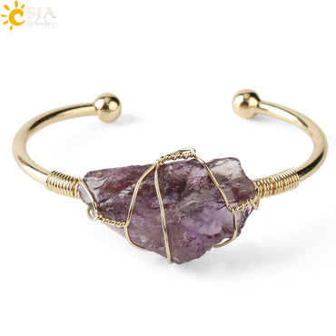 Natural Stone Gold-color Wire Wrap Crystal Cuff Bangles Bracelets