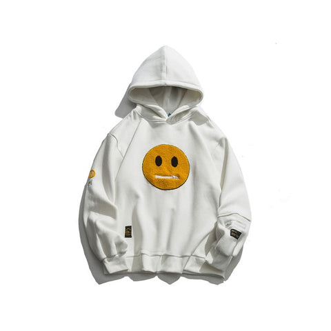 Zipper Pocket Smile Face Patchwork Fleece Hoodies