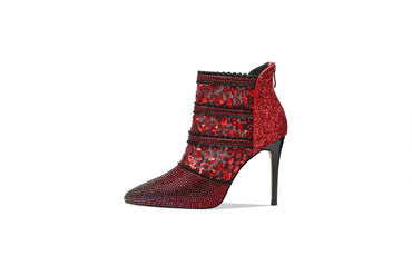 Diamond Crystal Hollow Mesh Pumps Thin Heels zip Boots