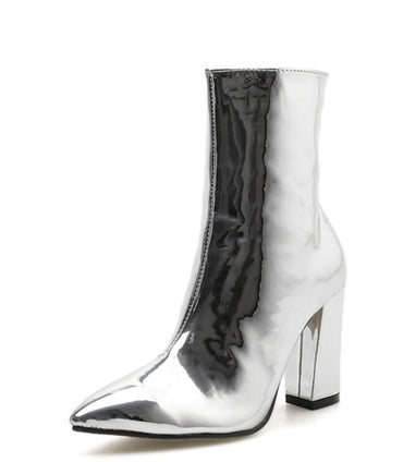 Gold Silver Patent Leather Ankle Boots