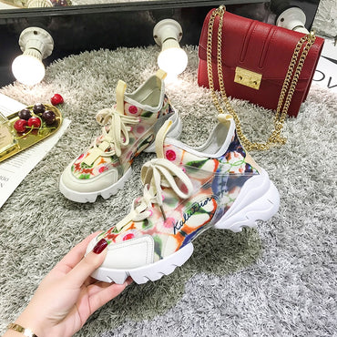 Breathable Flat Heels Fashion Printing Casual Shoes