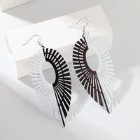 Creative alloy hollow leaf earrings