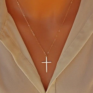 Cross Long Chain Overs Silver Color Classic Stainless Steel Necklace