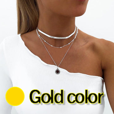 Multilayer Clavicle Chain Silver Color Necklaces