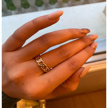 Chic Gold Color Plating Chain Shape Ring