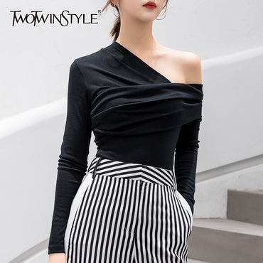 Sexy Off Shoulder Asymmetric T-shirts