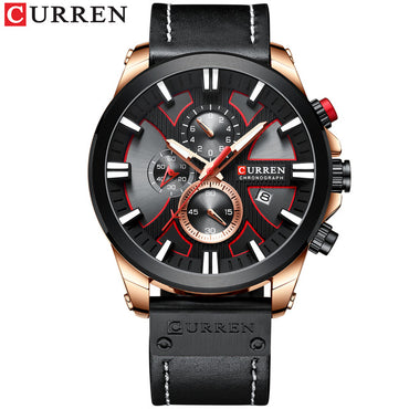 Chronograph Sport Quartz Clock Leather watch