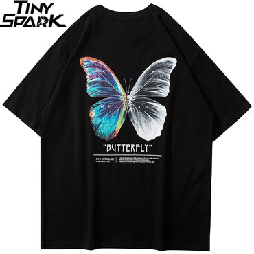 Hip Hop Color Butterfly Short Sleeve Cotton Loose HipHop T-Shirt