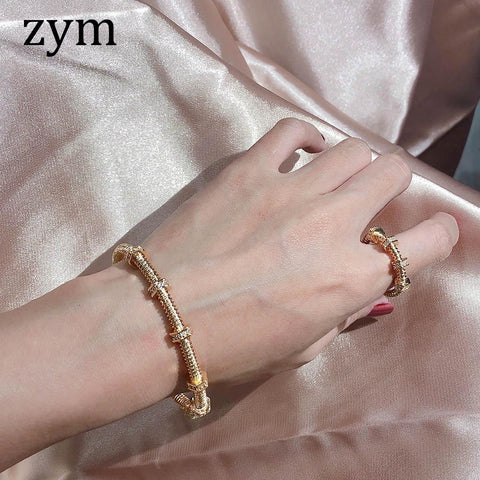 pure silver screw zircon Bracelets Bangles