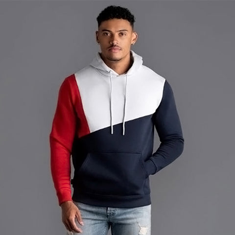 Patchwork Pullover Black White Hoodie