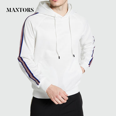 Casual Solid Stripe Loose Hooded Tracksuit Solid Hoodies