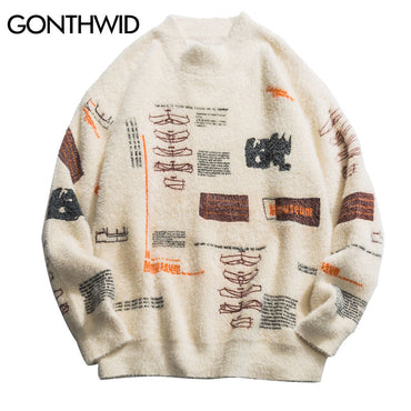 Graffiti Knitted Pullover Jumper Sweaters