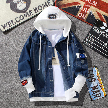 Long Sleeve with Nood Patchwork Cotton Denim Jackets
