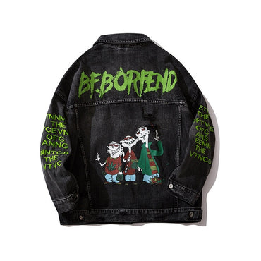 Streetwear Hip Hop Cartoon Letter Print Denim Jacket