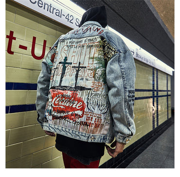 Cartoon Graffiti Printed Vintage Rapper Denim Jackets