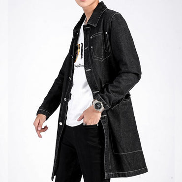 Solid Thick Suede Long Hip Hop Coat