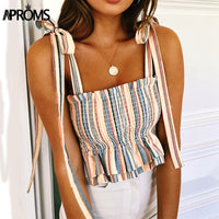 Multi Stripes Tie Up Shoulder Ruffles Pleated Tank Top Camis