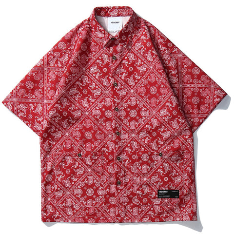 Casual Crane Printed Short Sleeve Shirt
