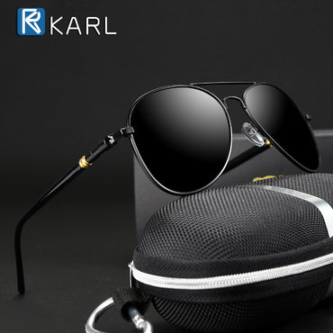 Classic Polarized Driving Black Pilot Retro Sunglasses