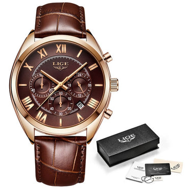 Luxury Waterproof Brown Leather Sports Wrist Watch